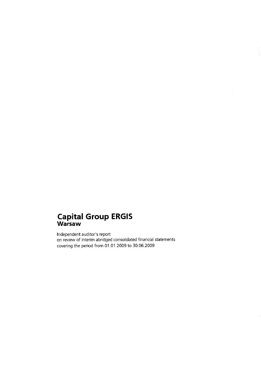 Auditor's report on review of interim abridged ERGIS Group statement for 1st half of 2009