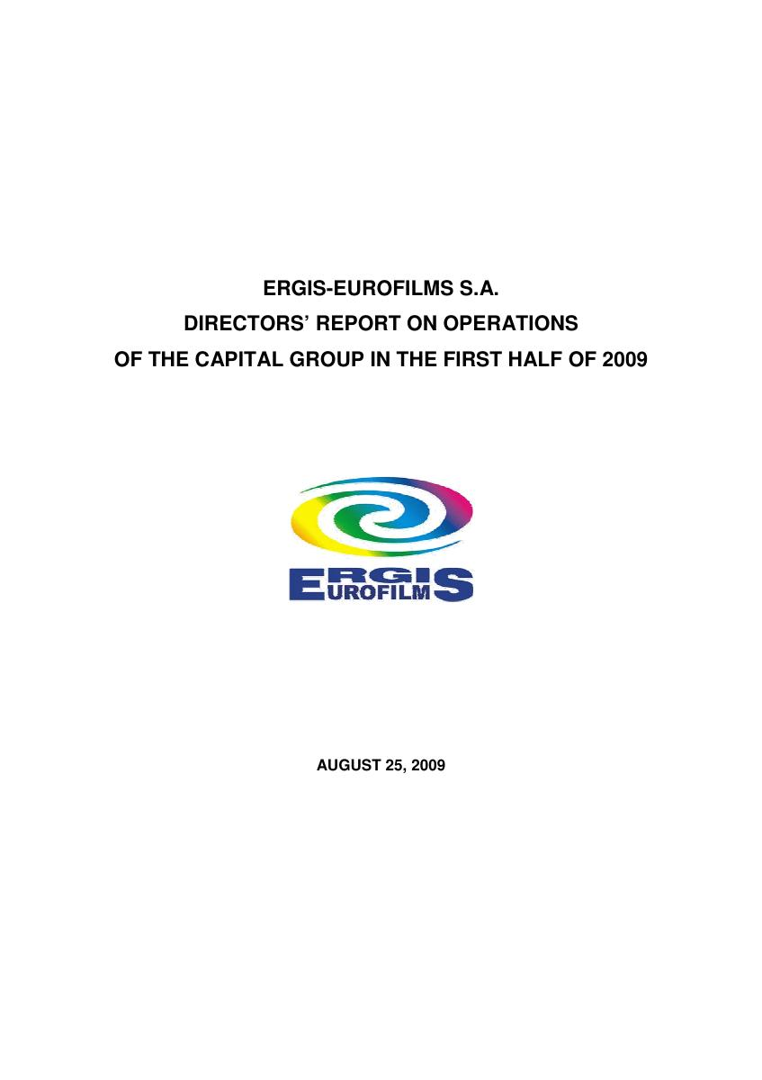 ERGIS Group Directors' report on operations in 1st half of 2009