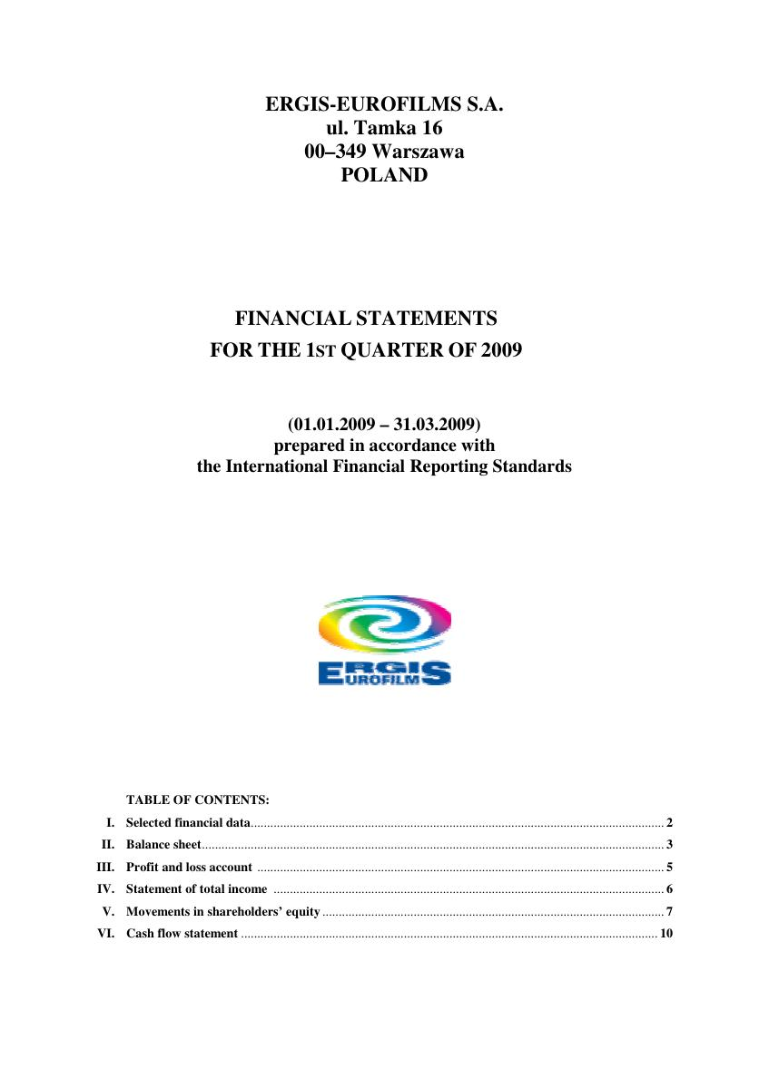 Financial statement of ERGIS-EUROFILMS for I Q 2009