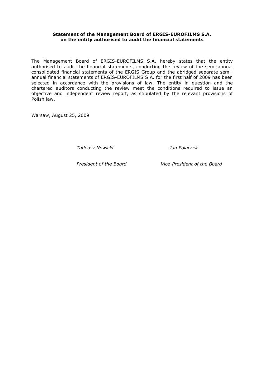 Statement on the entity authorised to audit the financial statements